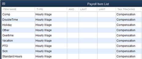 QuickBooks Payroll Items